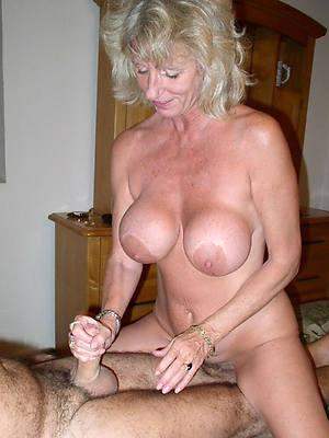 mature milf handjob posing overt