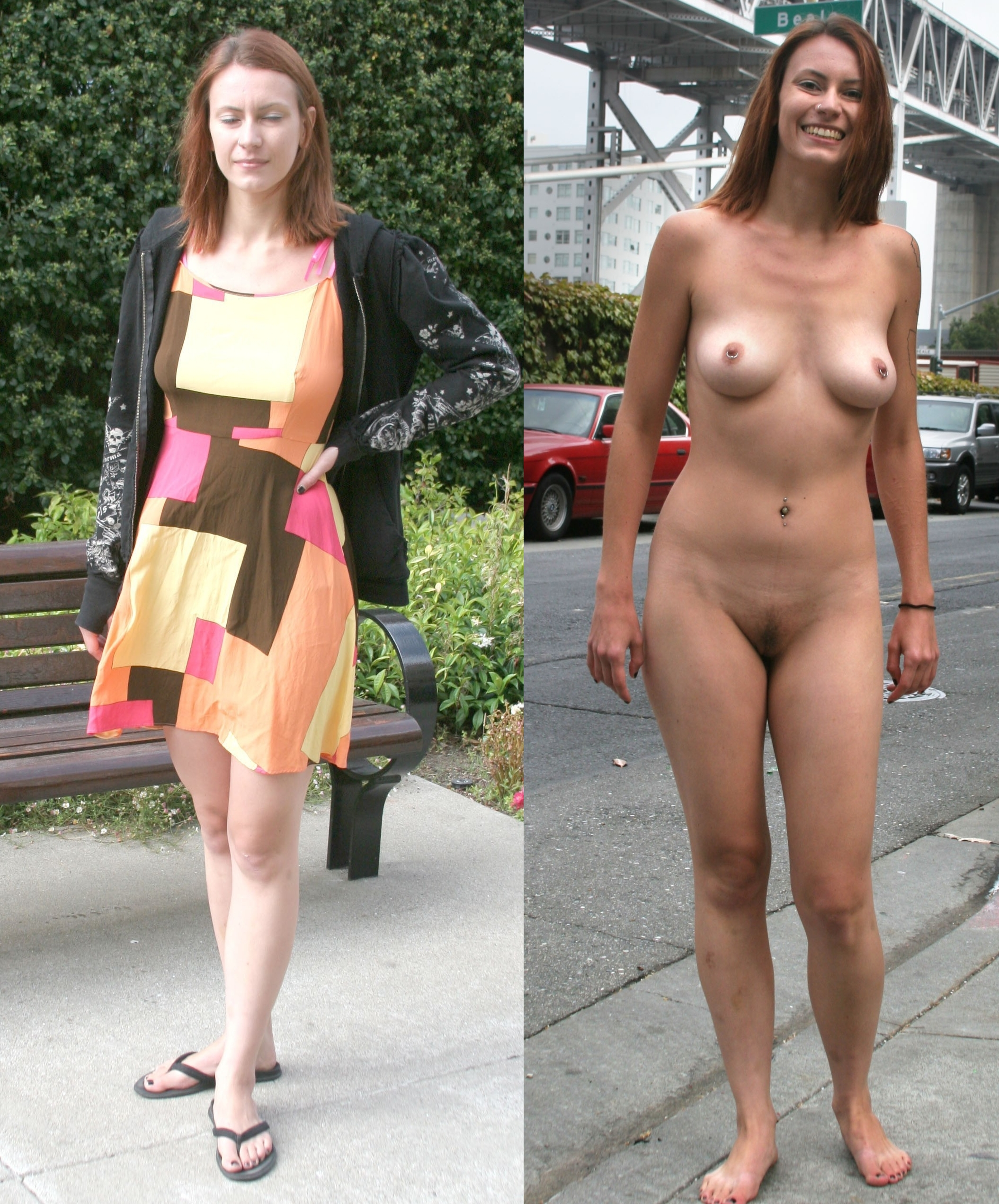 Pictures dressed and undressed Clothing Optional